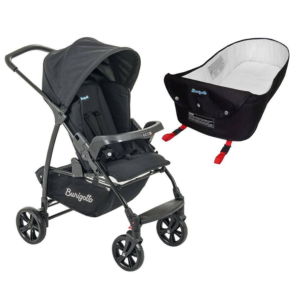 Carrinho de Bebê Ecco Preto + Ninho Pramette - Burigotto