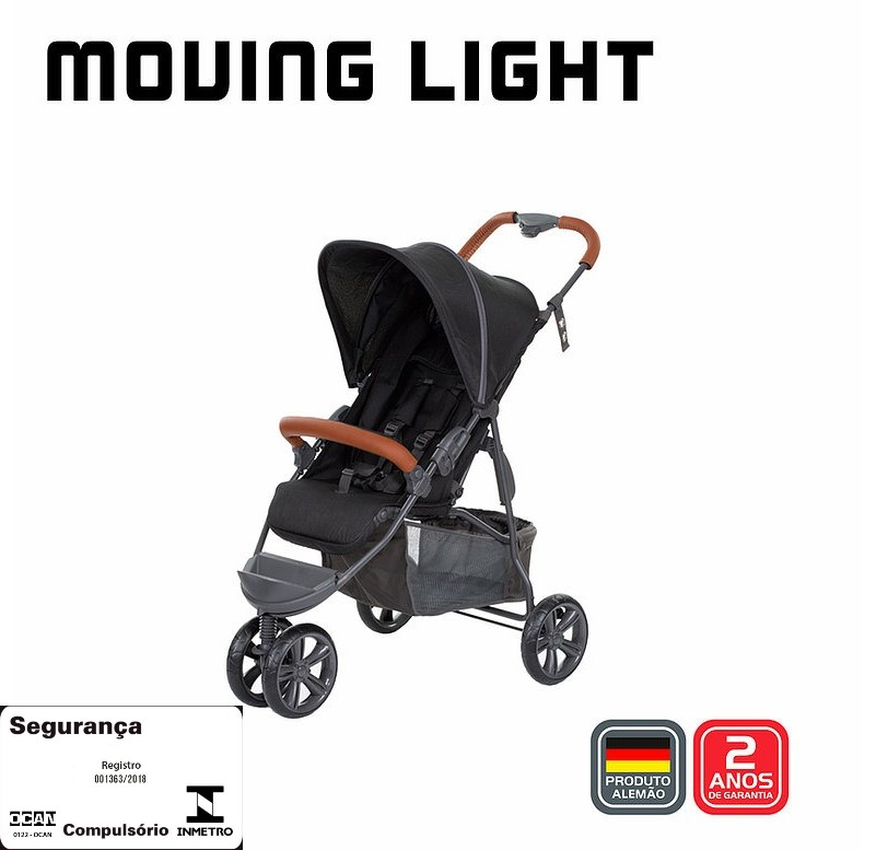 Carrinho Moving Light Woven Black Com Couro - Abc Design