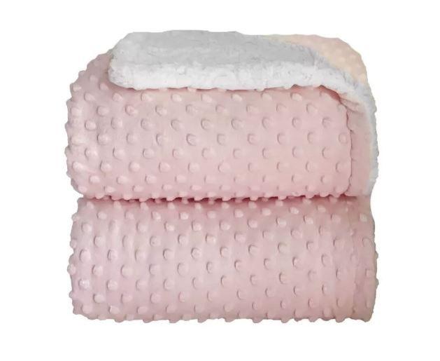 Cobertor 90x1.10 Dots Rosa Bebe - Laço Bebe Sherpam
