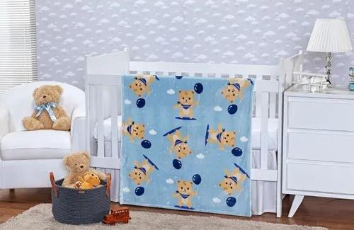 Cobertor Baby Flannel Teddy Azul Etruria