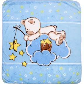 Cobertor Microfibra Ursinho Estrelas Azul - Baby Joy Ref 30014