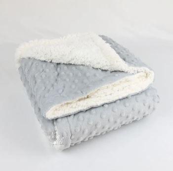 Cobertor 90x1.10 Dots Cinza Glacial - Laço Bebe Sherpam