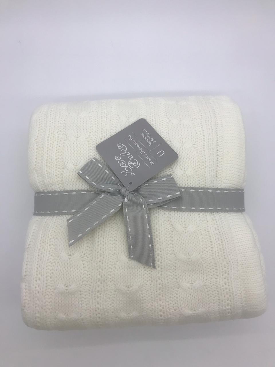 Cobertor 90x1.10 Fio Branco - Laço Bebê Sherpam