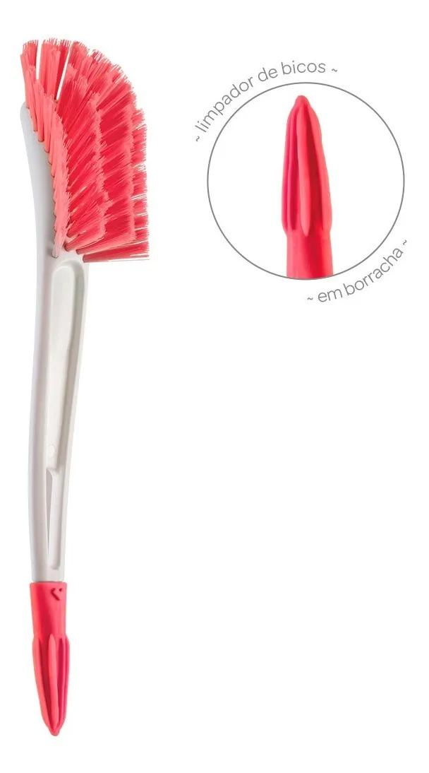Escova Para Mamadeira Com Limpador de Bico - Rosa Buba Ref 12727