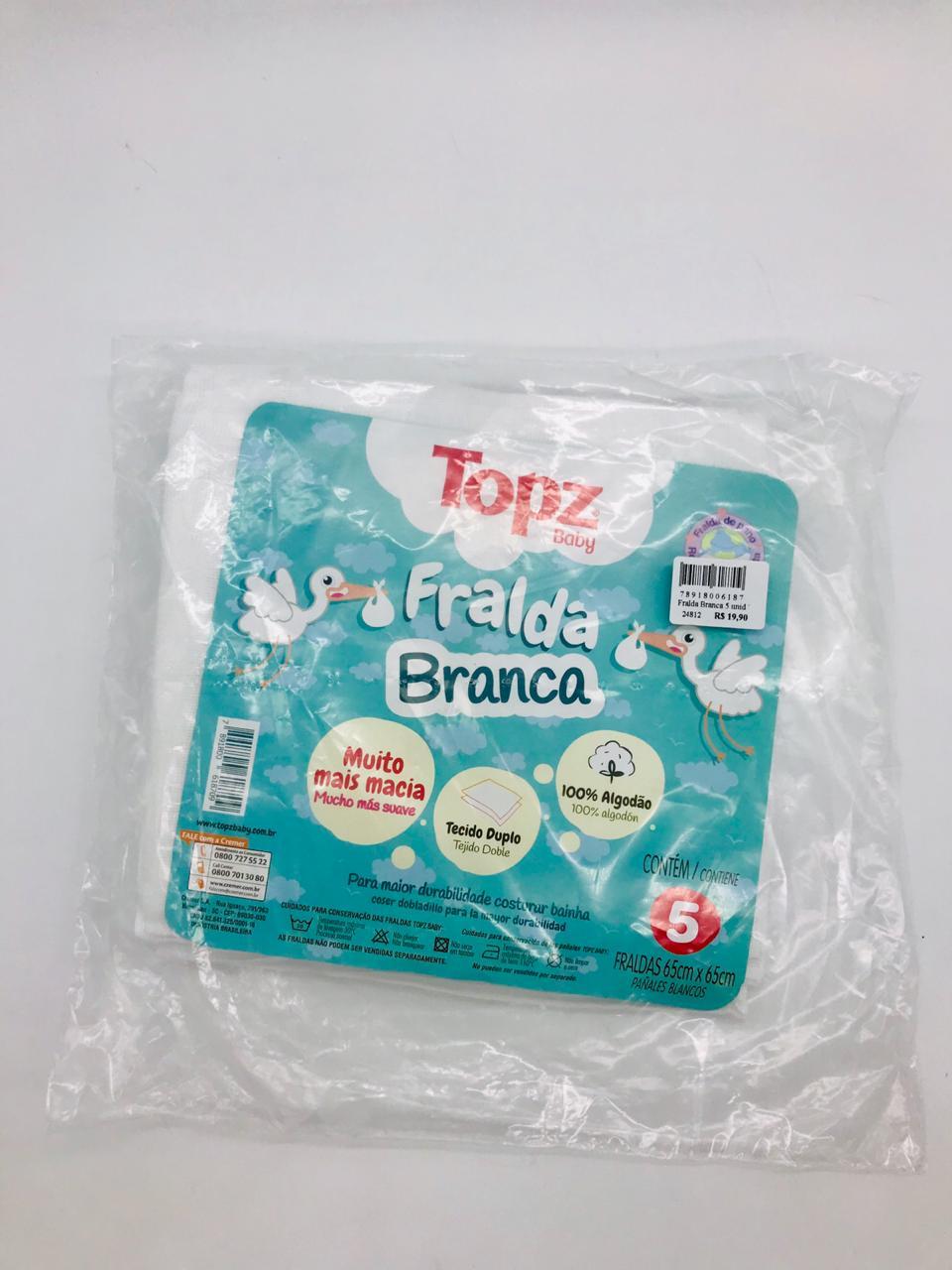 Fralda Branca 5 Unid - Topz Baby