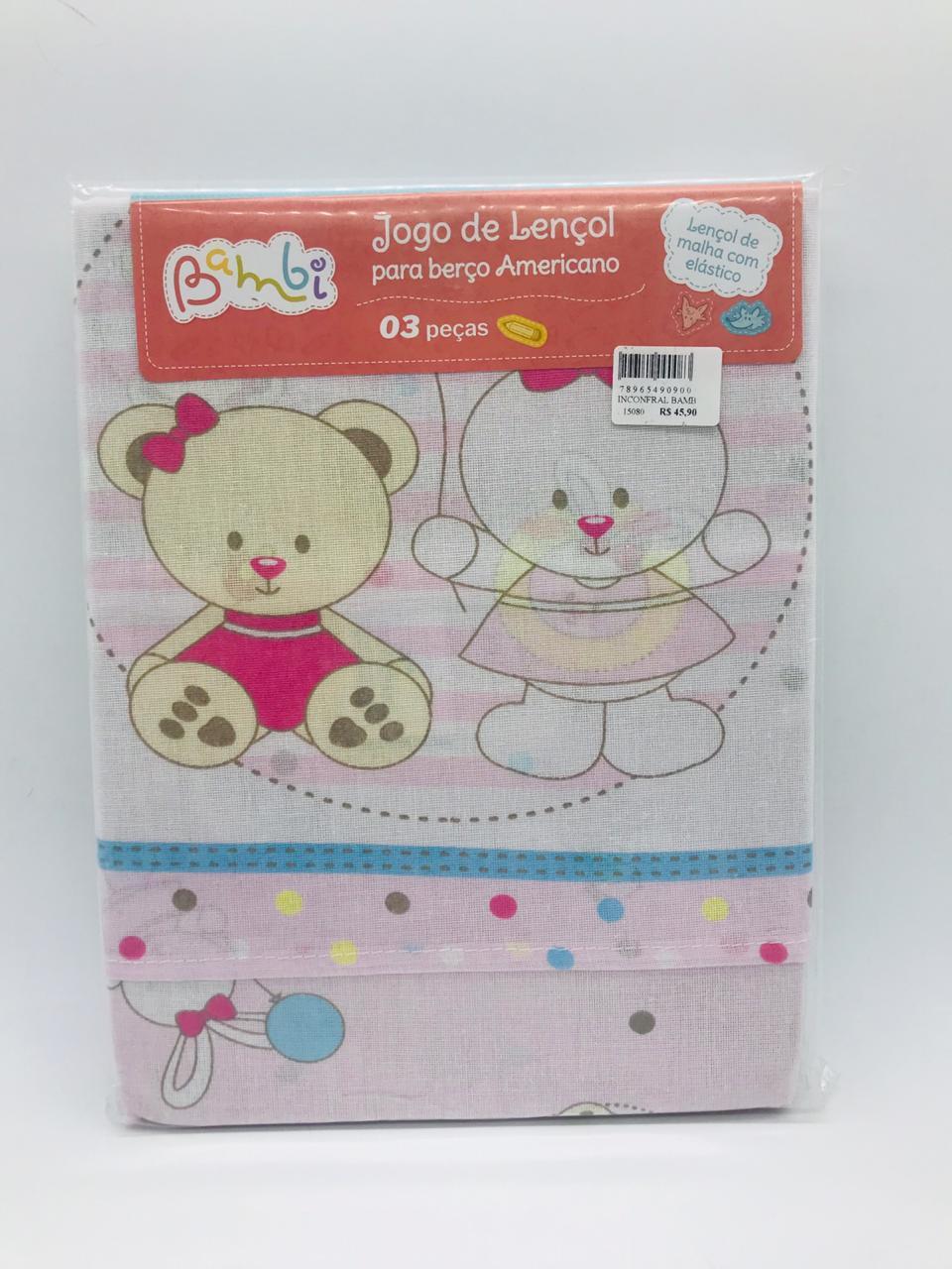 Jogo de Lençol 3 Pçs Ursinha Rosa - Bambi Incomfral Ref 02001204010014