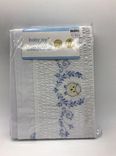 Jogo de Lençol Com Elastico Carneirinho Azul - Baby Joy 0404120403006