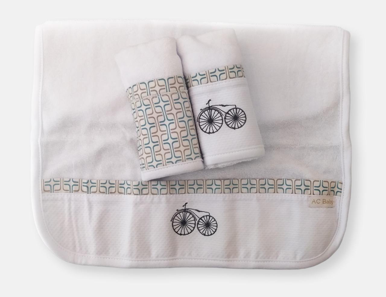 Kit 3 Boquinhas Atoalhado Bici Geometic Exclusivo - Ac Baby Ref 04127 49 U