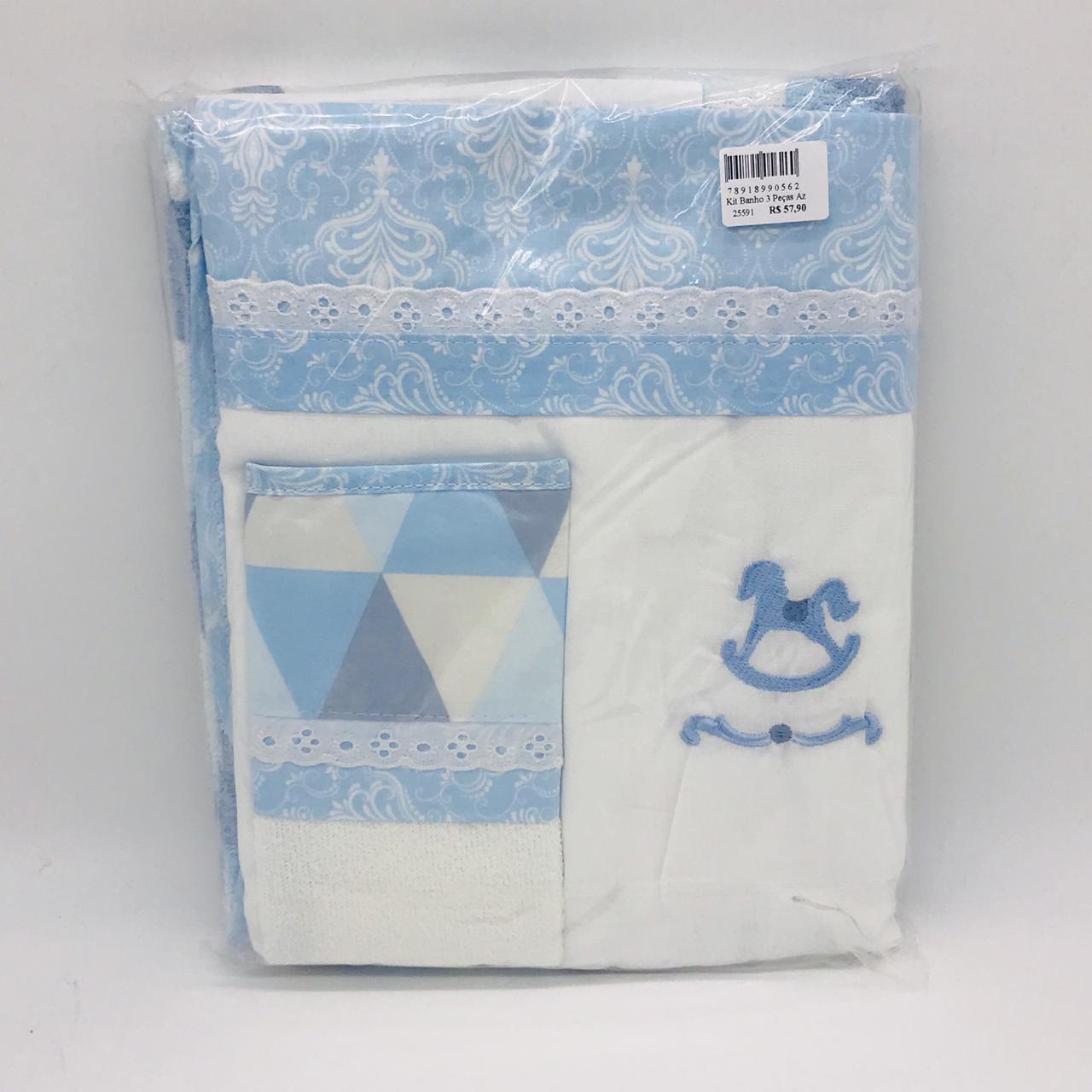 Kit Banho 3 Peças Azul Cavalinho - m Mimo Minasrey Ref 5626