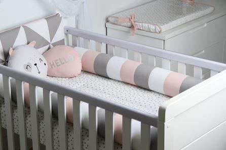Kit Berço 8 Peças Animal Smiles Rolos Rosa 200 Fios - AC Baby  Ref 05563