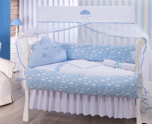 Kit Berço Nuvem Azul Almofada de Nuvem - Medina