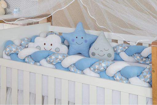 Kit Berço Trança Azul Com Triângulos Cinza e Azul Claro - M Baby