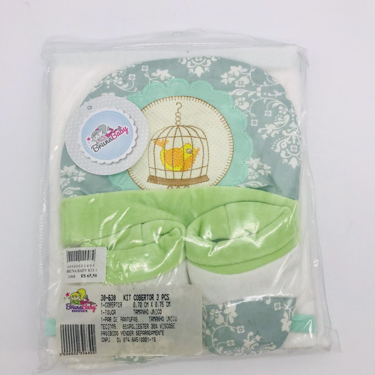 Kit Cobertor 3 Pçs Gaiola Verde - Bruna Baby Ref 30630