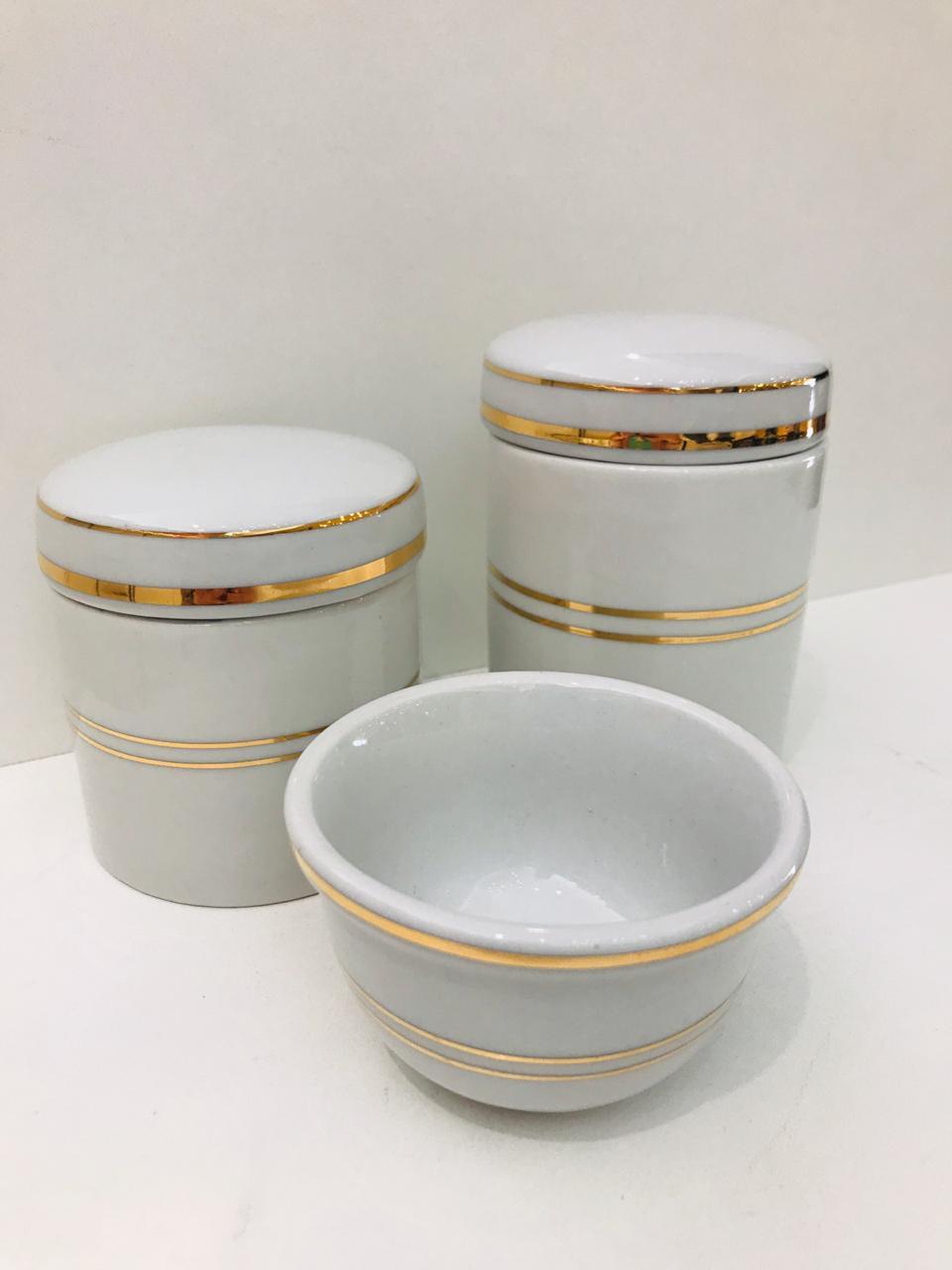 Kit de Porcelana Branco Com 2 Filetes Dourado 3 PÇS - bv