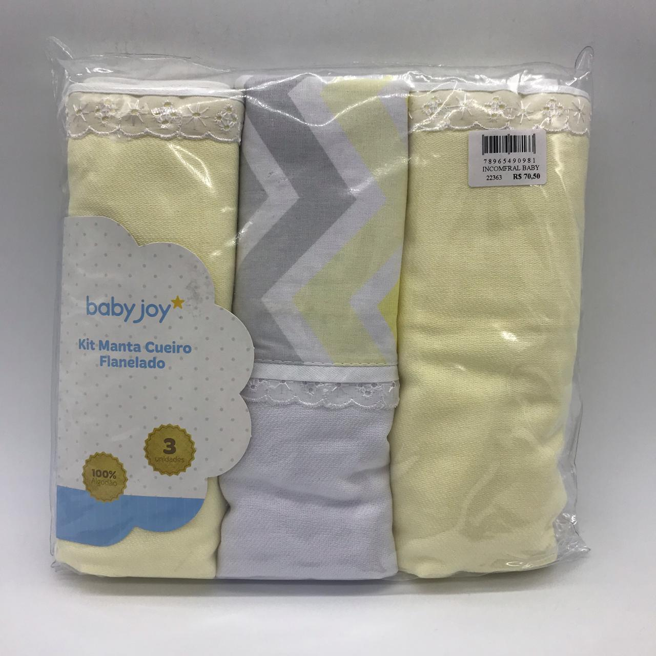 Kit Manta Cueiro 3 Und Flanelado Chevron Amarelo - Baby Joy Ref 0412150101-0003