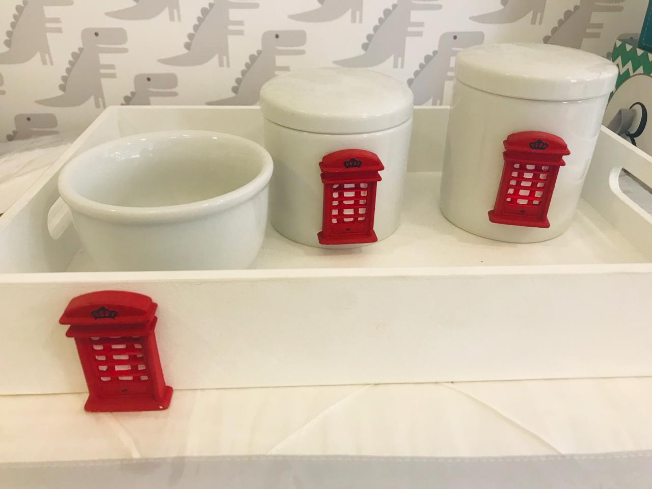 Kit Porcelana 2 Potes, 1 Molhadeira e 1 Bandeja Londres - Divino Talento