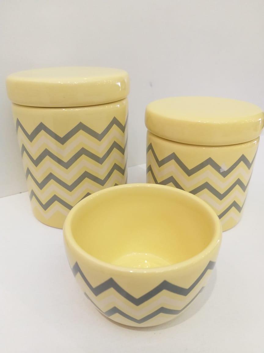 Kit Porcelana Amarelo Chevron Cinza - 3 UND