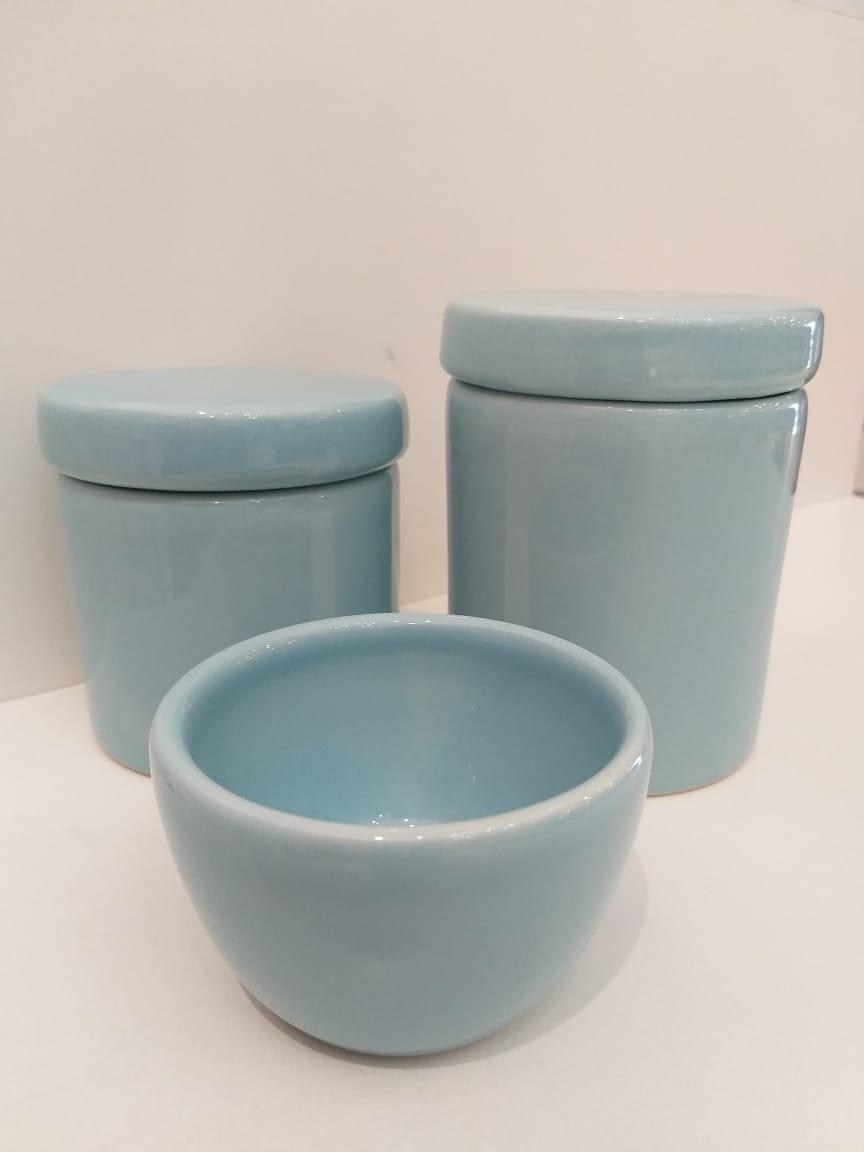 Kit Porcelana Azul Bebê - 3 PÇS
