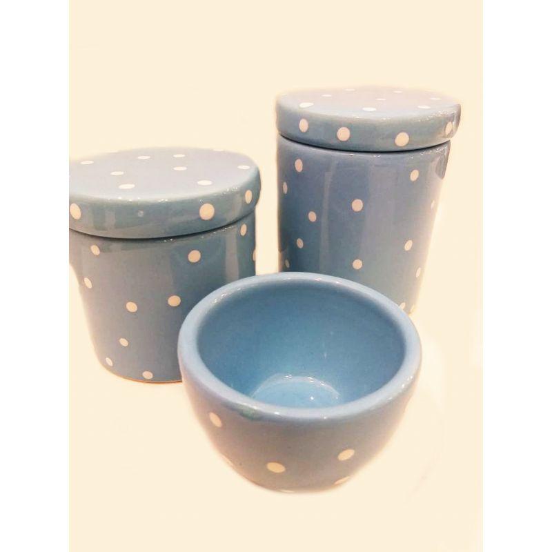 Kit Porcelana Azul Com Bolinhas Brancas - 3 PÇS
