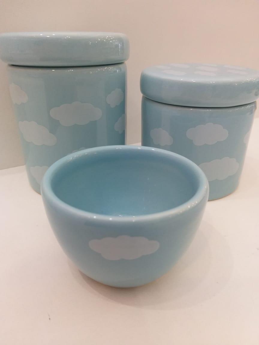 Kit Porcelana Azul Com Nuvem Azul - 3 PÇS