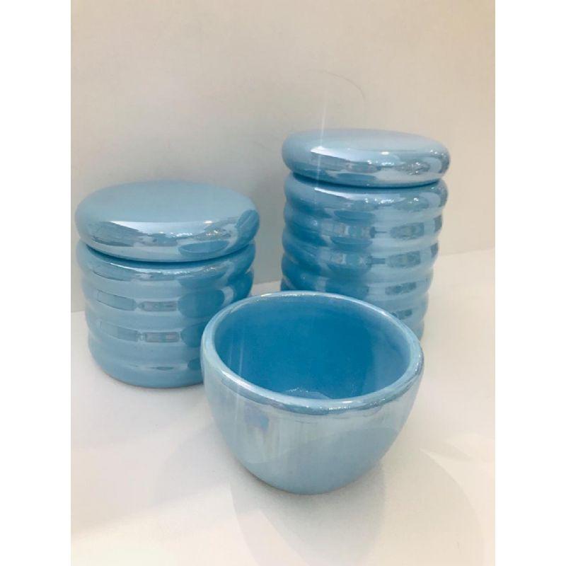 Kit Porcelana Azul Perolado 3 PÇS - Rossi Niero