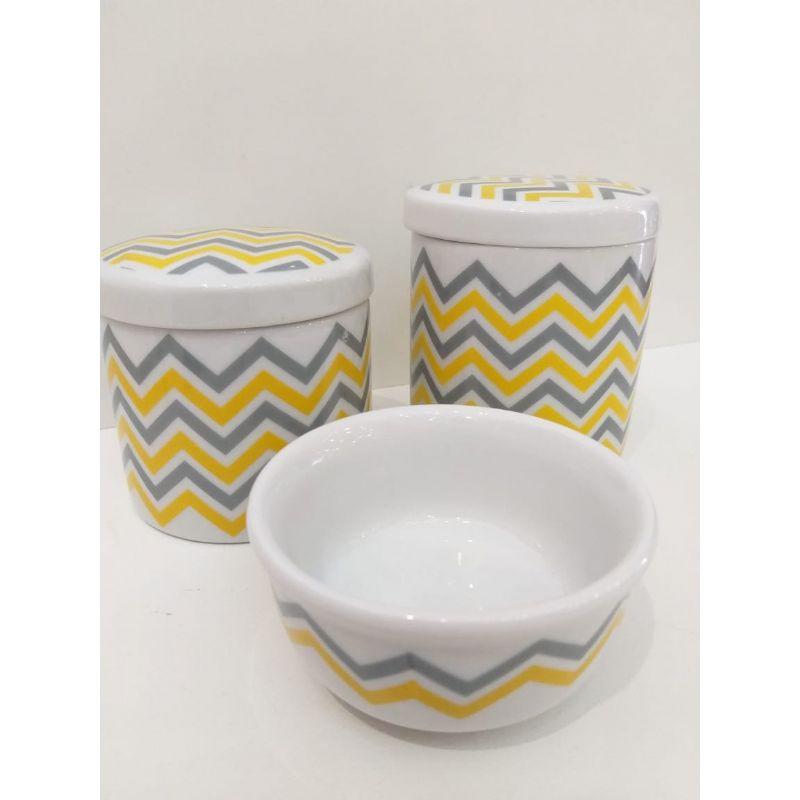 Kit Porcelana Branca Chevron Cinza e Amarelo - 3 PÇS