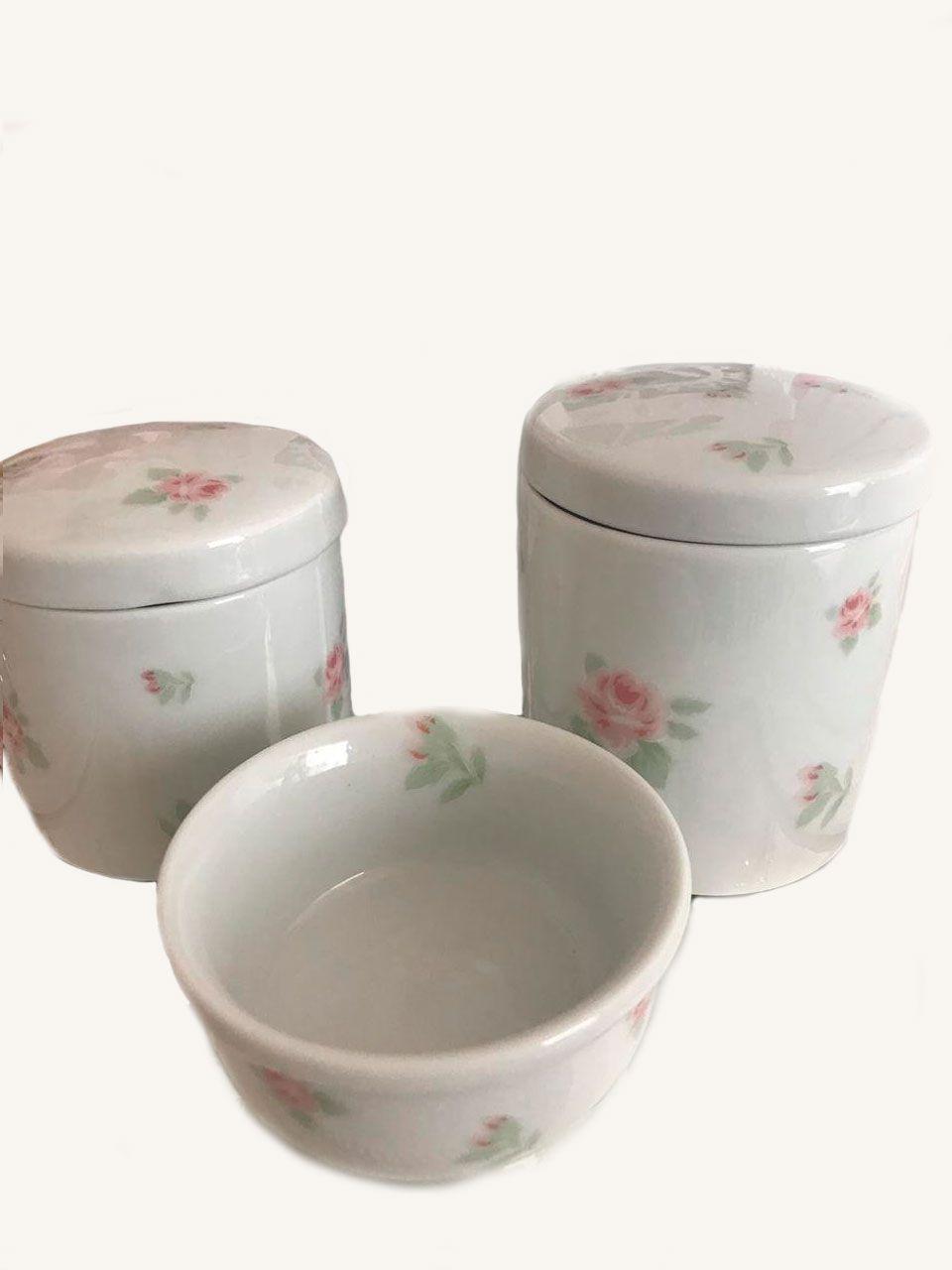 Kit Porcelana Branca Com Rosas - 3 PÇS
