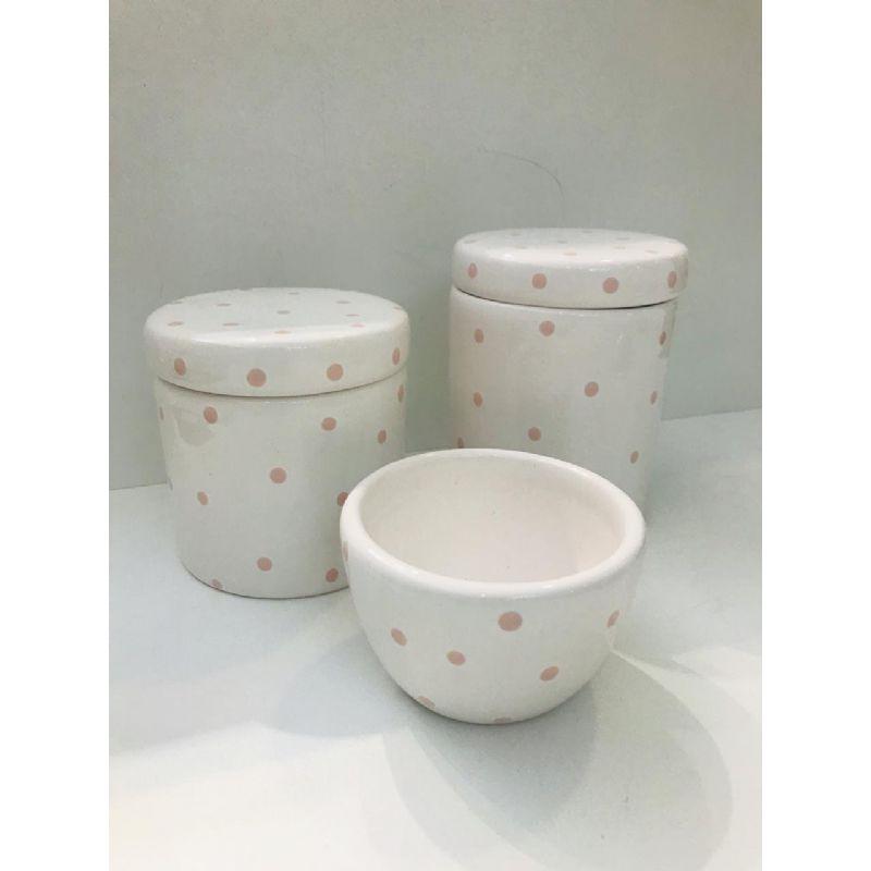 Kit Porcelana Branco Bolinha Rosa - Rossi Nieri