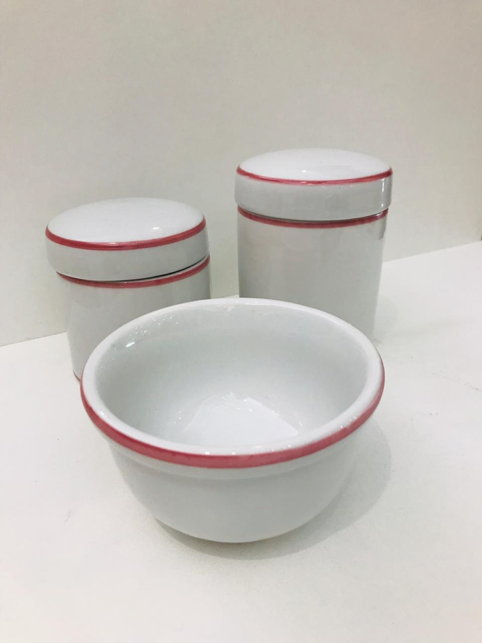 Kit Porcelana Branco Com 1 Filete Rosa 3 PÇS - bv