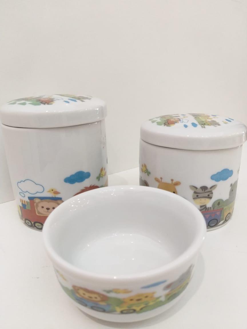 Kit Porcelana Branco Com Animais no Trenzinho - 3 PÇS