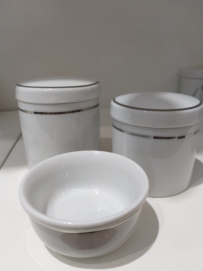 Kit Porcelana Branco Com Filete Prata - 3 PÇS