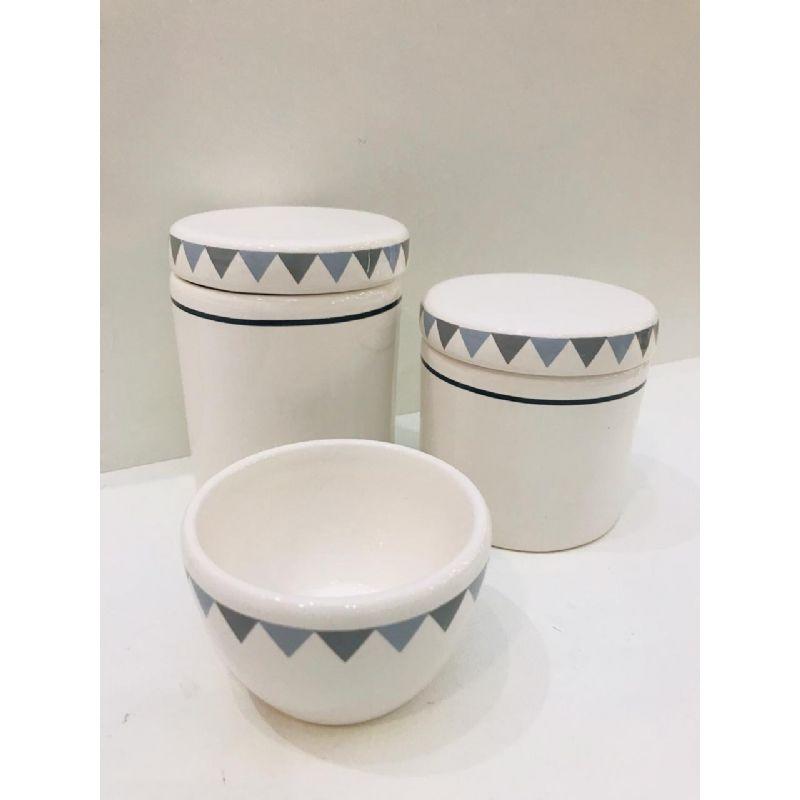 Kit Porcelana Branco Com Tampa Triângulos Cinza 3 PÇS - Rossi Niero