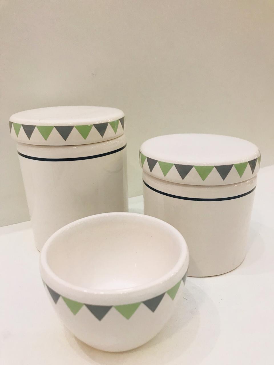 Kit Porcelana Branco Com Tampa Triângulos Verde e Cinza 3 PÇS - Rossi Niero