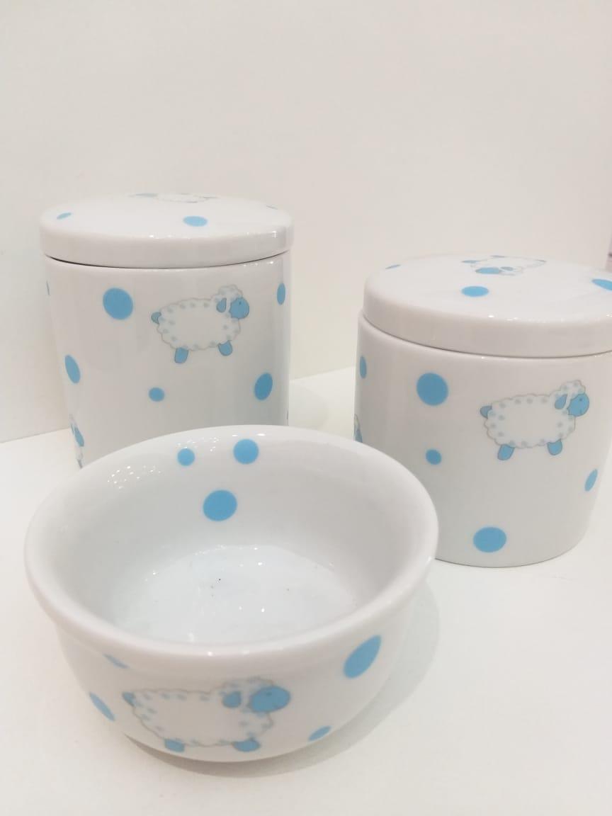 Kit Porcelana Carneirinhos Azul - 3 PÇS