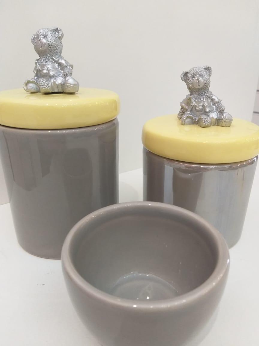 Kit Porcelana Cinza Com Tampa Amarela Com Ursinho - 3 PÇS