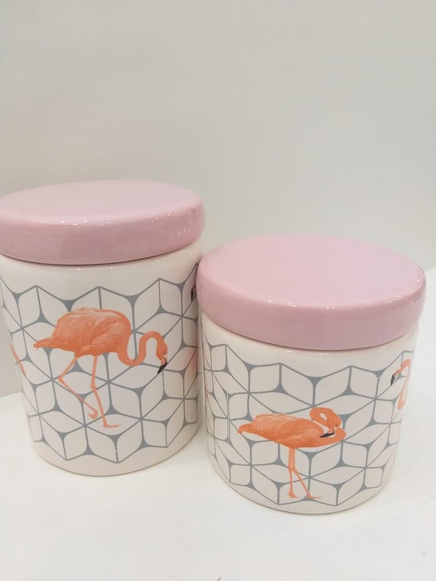 Kit Porcelana Com 2 Peças Flamingo Com Tampa Rosa