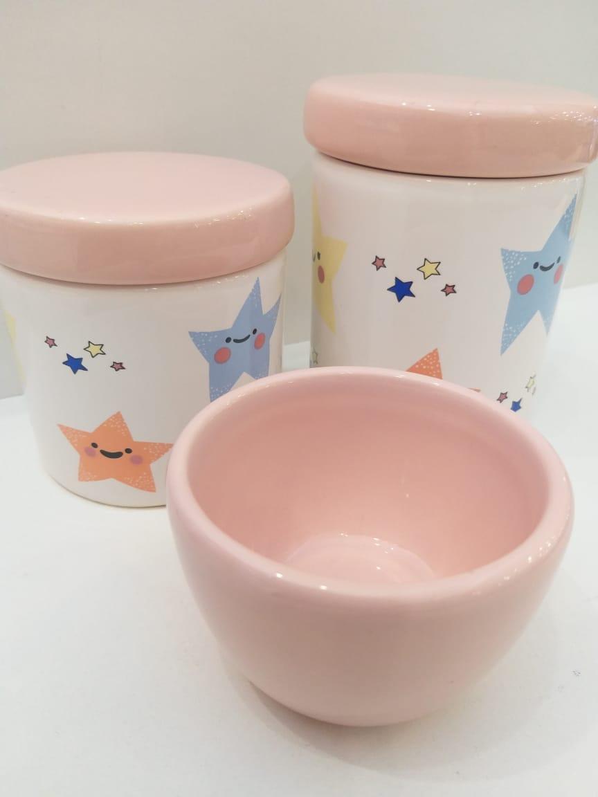 Kit Porcelana Estrelinha Com Tampa Rosa Bebê - 3 PÇS