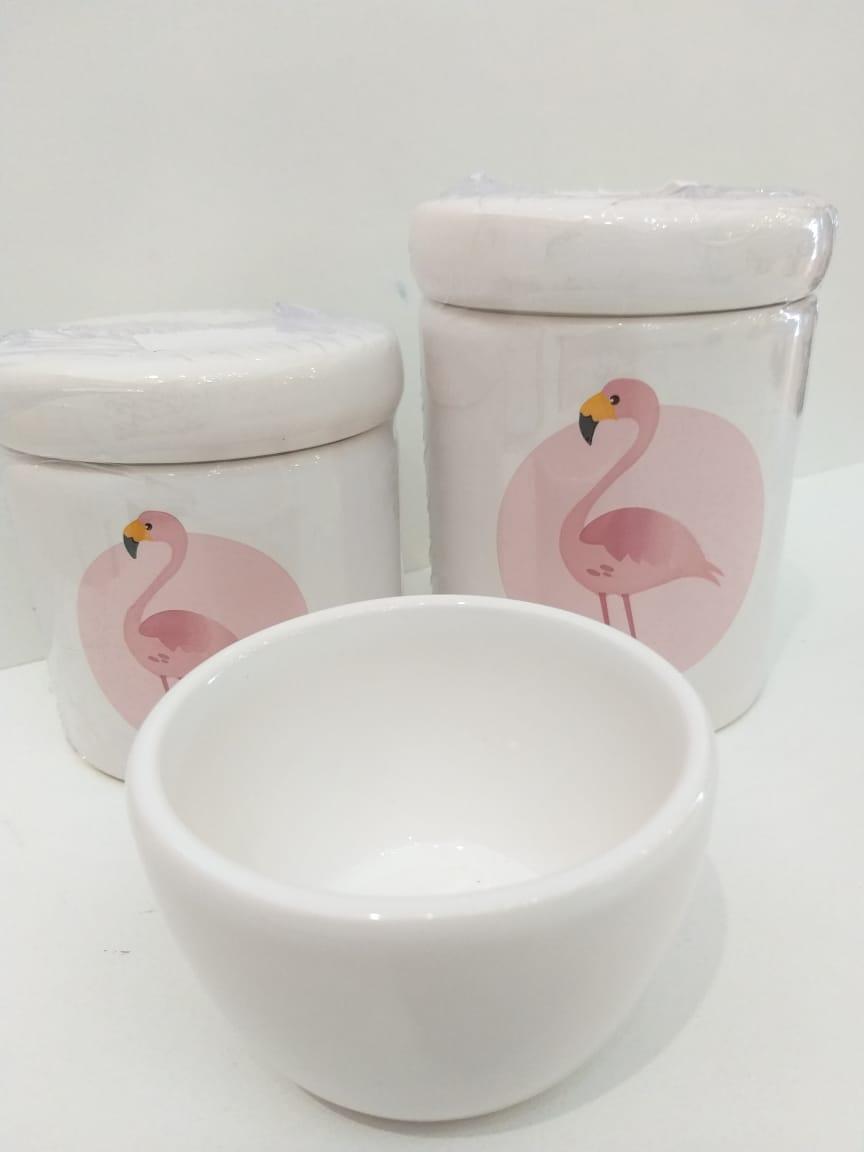 Kit Porcelana Flamingo Rosa - 3 PÇS