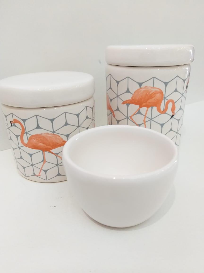 Kit Porcelana Flamingo Tampa Branca - 3 PÇS
