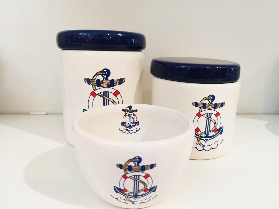 Kit Porcelana Marinheiro Azul -  3 PÇS