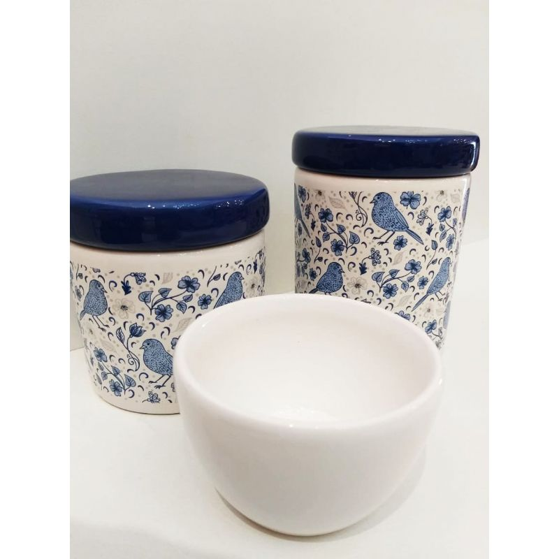 Kit Porcelana Passarinho Azul Com Tampa Azul - 3 PÇS