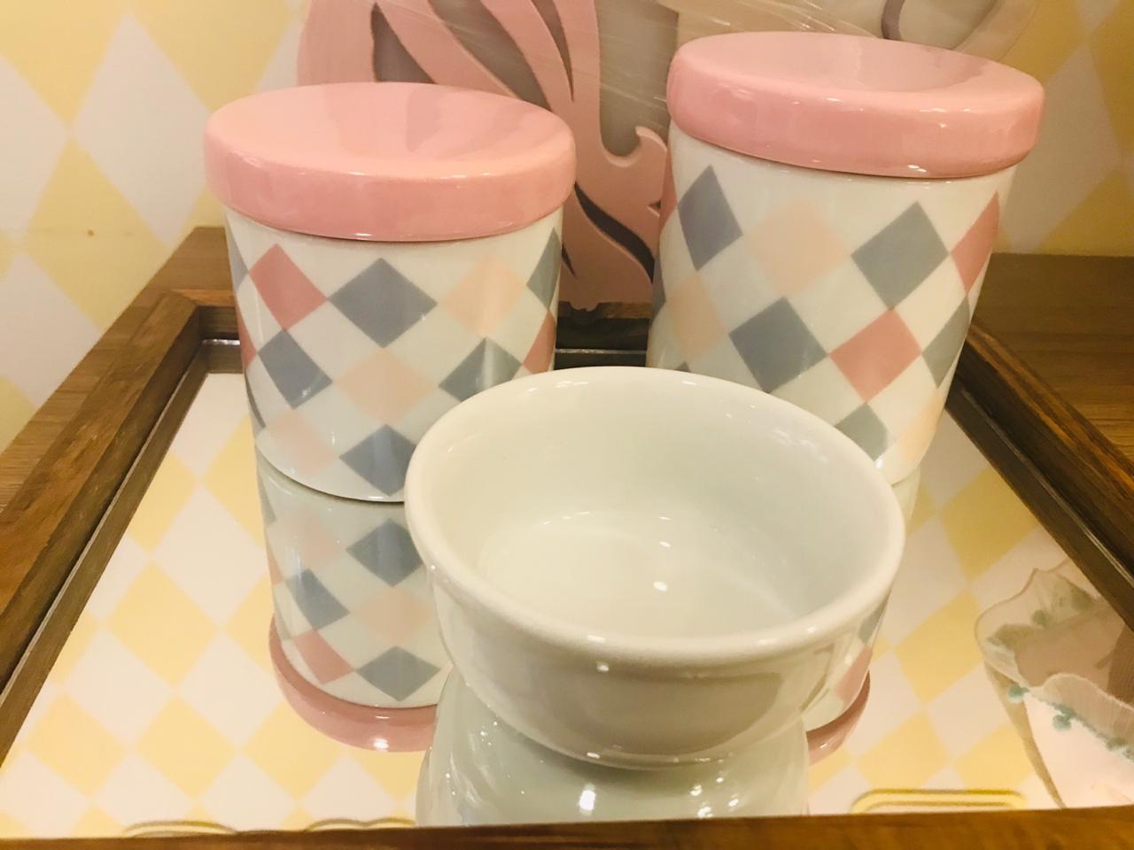 Kit Porcelana Quadriculado Rosa e Cinza - 3 PÇS