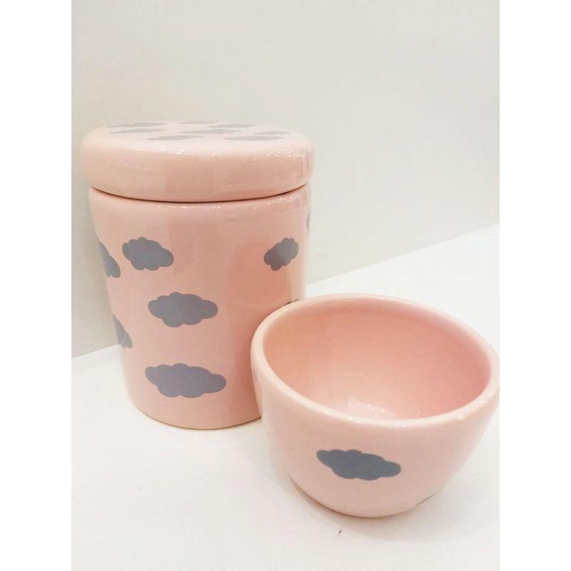 Kit Porcelana Rosa Com Nuvem Cinza - 2 Peças