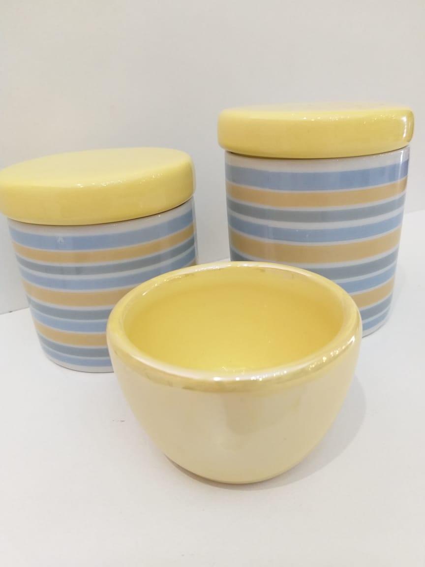 Kit Porcelana Tampa Amarela Com Listras Azul e Amarelo -  3 PÇS