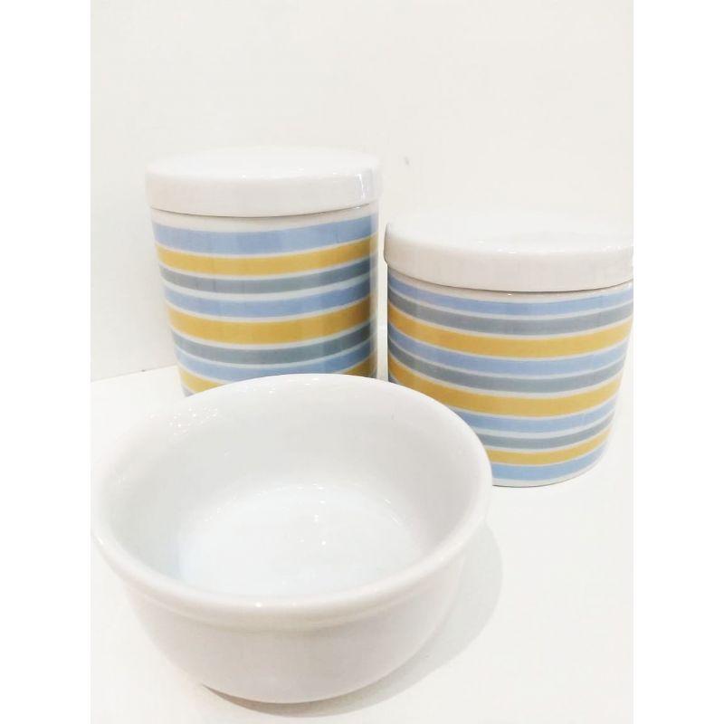 Kit Porcelana Tampa Branca Com Listras Azul e Amarelo -  3 PÇS