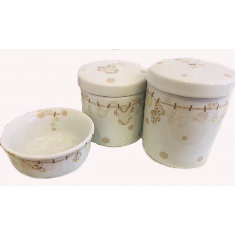 Kit Porcelana Varal Bege -  3 PÇS