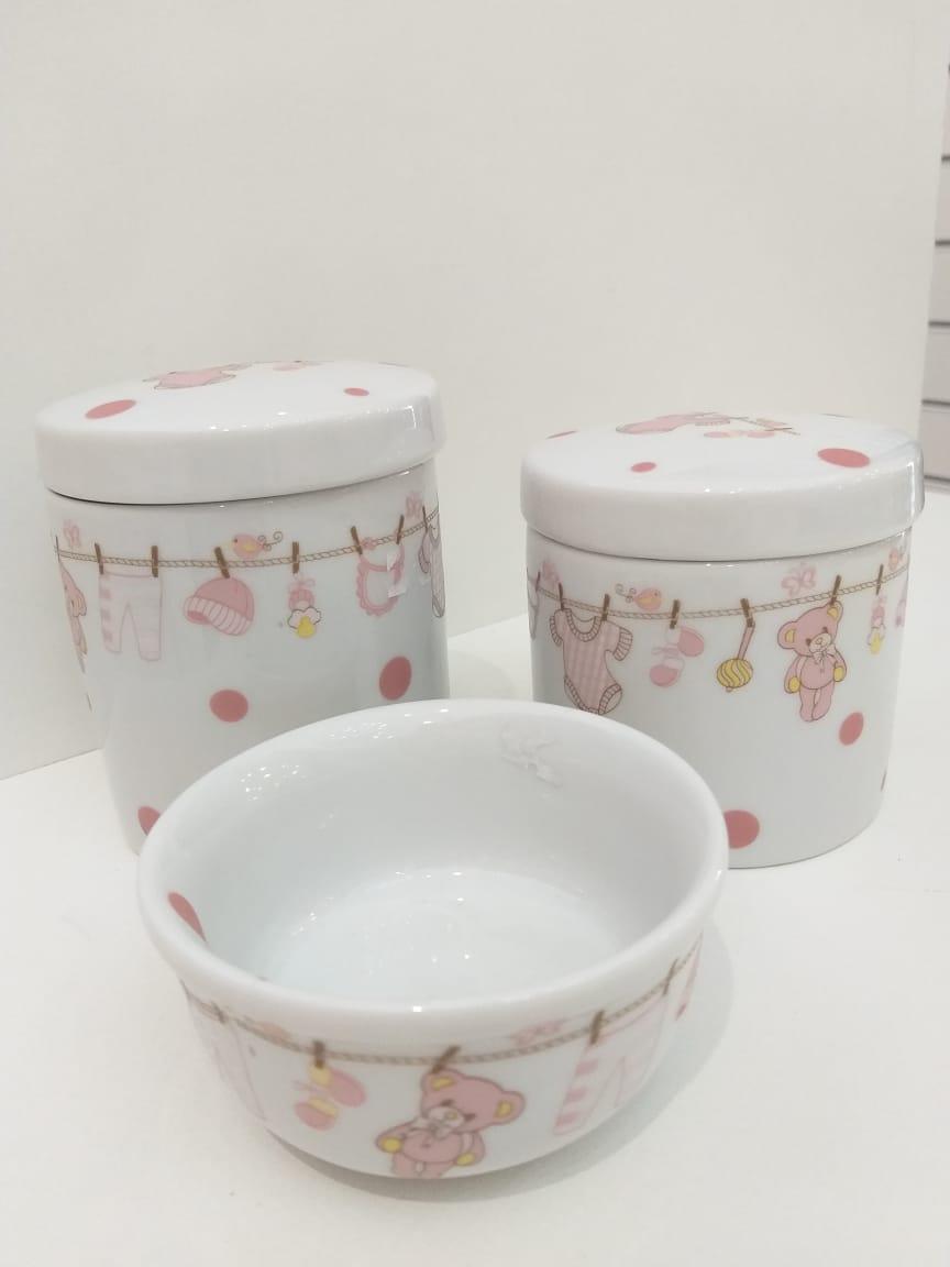 Kit Porcelana Varalzinho Rosa 3 Pçs