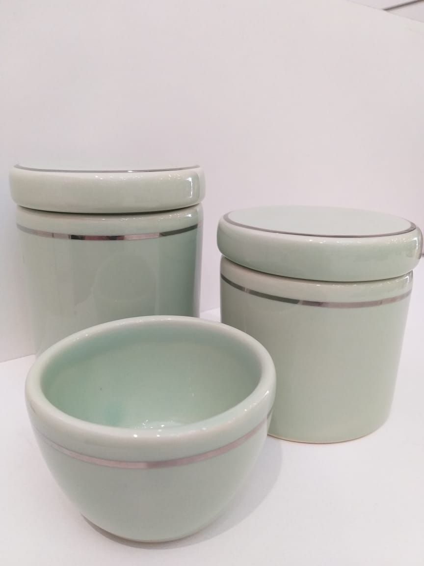 Kit Porcelana Verde Com Filete Prateado -  3 PÇS
