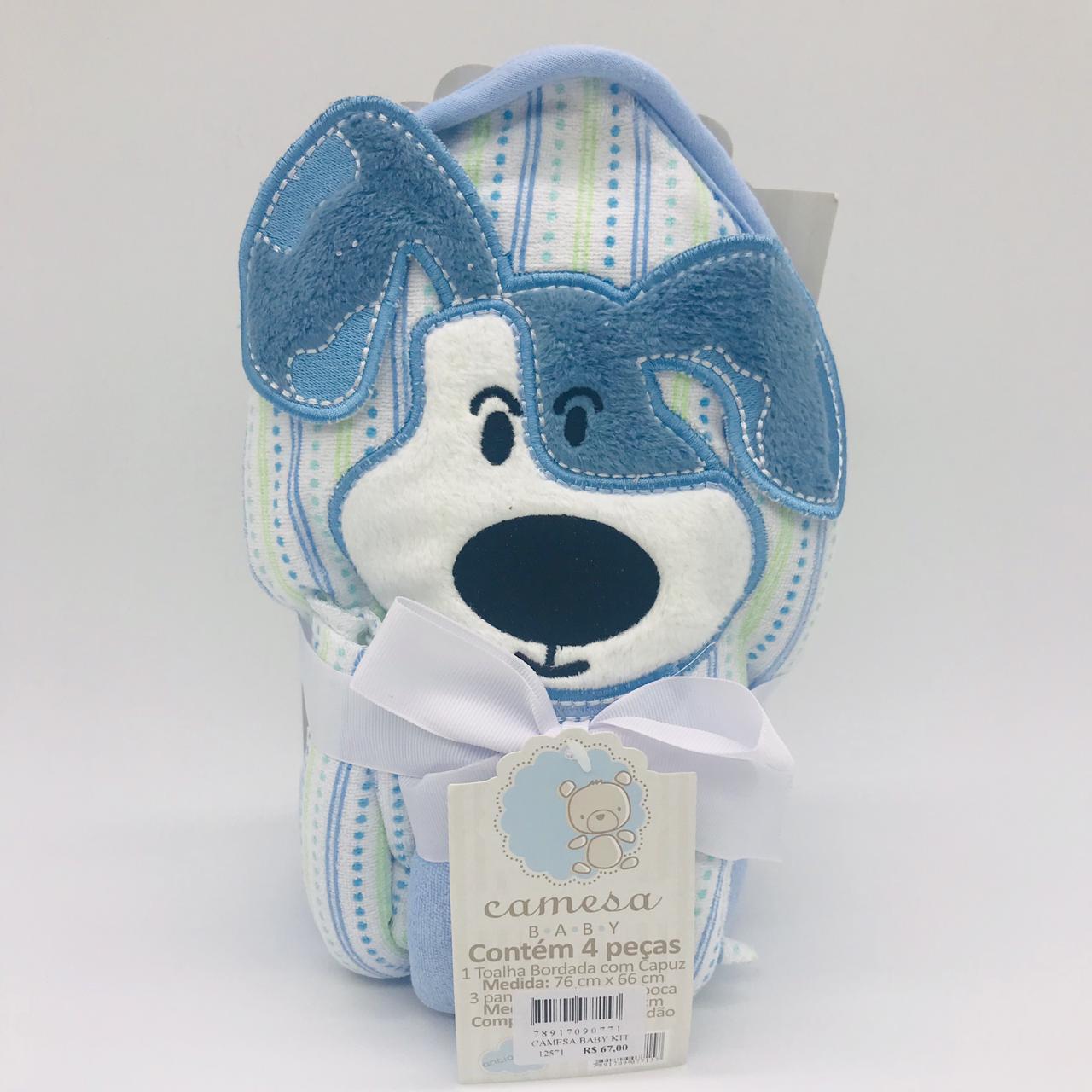 Kit Toalha de Banho Com Capuz e Toalha de Boca Cachorro Azul - Camesa