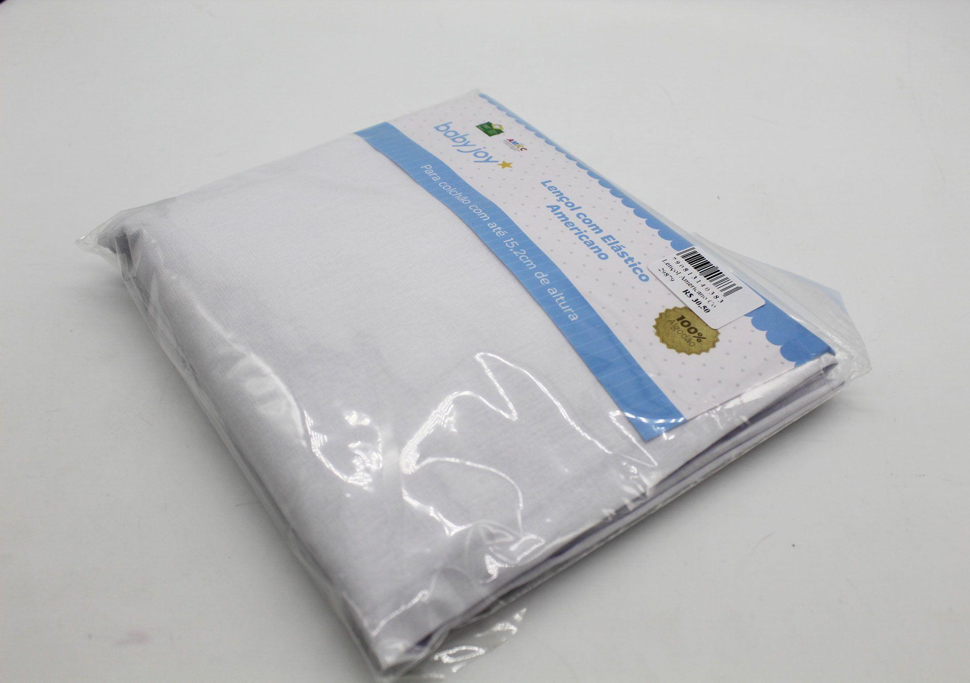 Lençol Americano Elástico Cor Branco - Baby Joy Ref 04002001010002